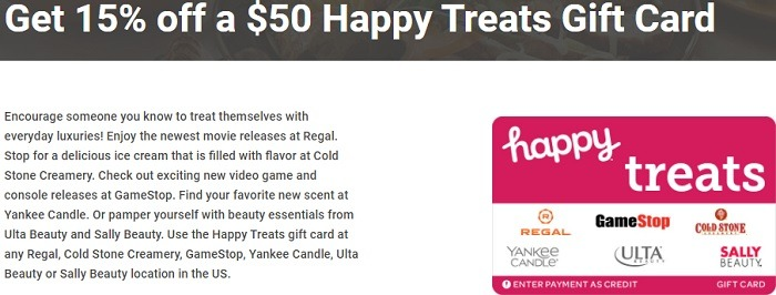 15% Off Select Happy Gift Cards