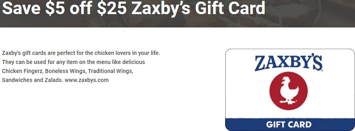 Purchase $25 Zaxby's Gift Card for $20