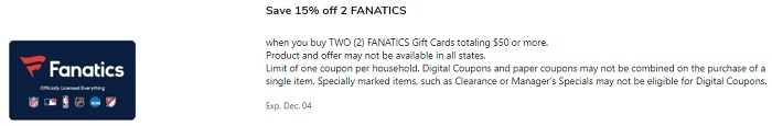 15% Off Two Fanatics Gift Cards Totaling $50+