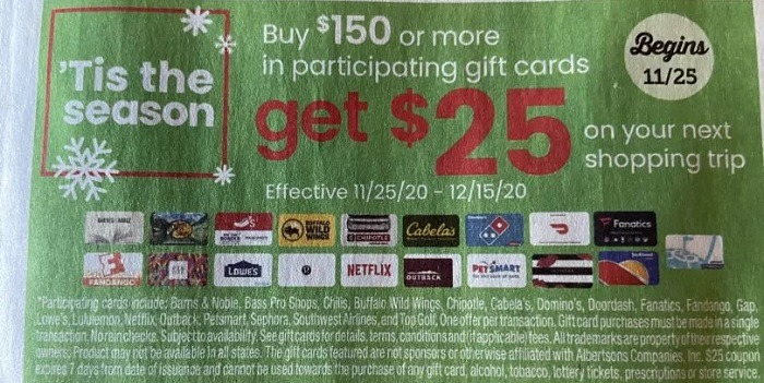 Get $25 Off Next Shopping Trip w/ $150 Select Gift Card Purchase