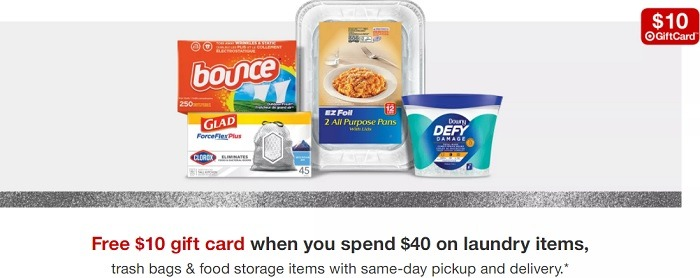 Free $10 Gift Card w/ $40 Spend on Laundry Items, Trash Bags, & Food Storage Items