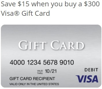 Save $15 w/ $300 Visa Gift Card Purchase