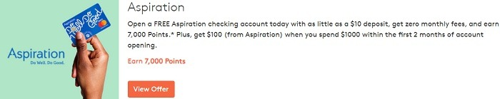 Earn 7,000 Points w/ Free Aspiration Checking Account Sign-Up + $100 Bonus