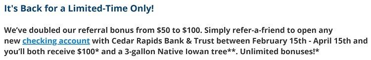Cedar Rapids Bank & Trust $100 Referral Bonus