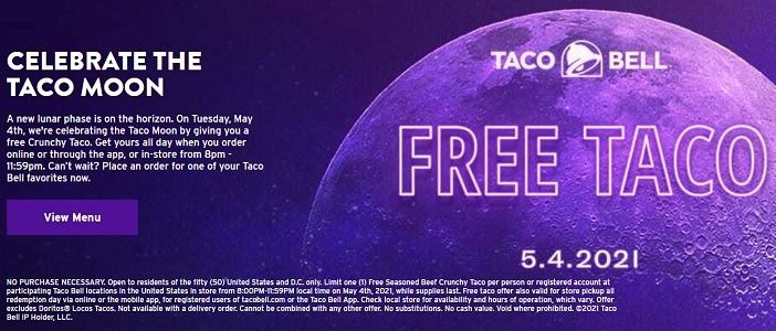 Taco Bell Promotions: Free Crunchy Taco on 5/4, Etc