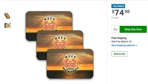 Muer Seafood giftcard